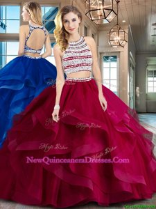 Elegant Scoop Sleeveless Tulle With Brush Train Backless Quinceanera Gown inWine Red withBeading and Ruffles