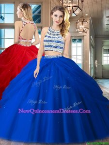 Smart Scoop Pick Ups Royal Blue Sleeveless Tulle Backless 15 Quinceanera Dress for Military Ball and Sweet 16 and Quinceanera