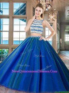 Flare Scoop Sleeveless Tulle Floor Length Backless Quinceanera Gown inRoyal Blue withBeading