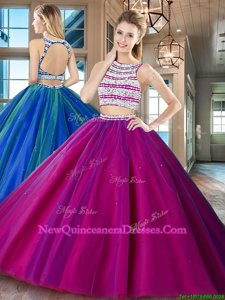 Glittering Scoop Fuchsia Two Pieces Beading Quinceanera Gowns Backless Tulle Sleeveless Floor Length