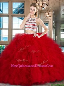 Perfect Scoop Sleeveless Brush Train Backless With Train Beading and Ruffles Quinceanera Dresses