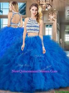 Exceptional Backless Scoop Sleeveless Quinceanera Gowns Floor Length Beading and Ruffles Blue Tulle