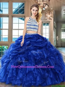 Noble Scoop Royal Blue Backless Quinceanera Dresses Beading and Ruffles and Pick Ups Sleeveless Floor Length