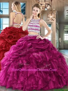 Hot Selling Scoop Floor Length Backless Quince Ball Gowns Fuchsia and In for Military Ball and Sweet 16 and Quinceanera withBeading and Ruffles and Pick Ups