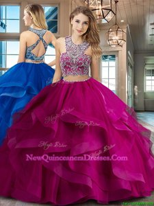 Amazing Scoop Criss Cross Spring and Summer and Fall and Winter Tulle Sleeveless With Train Sweet 16 Dress Brush Train andBeading and Ruffles