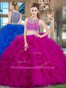 Smart Sleeveless Tulle With Brush Train Side Zipper Quinceanera Dress inFuchsia withBeading and Ruffles