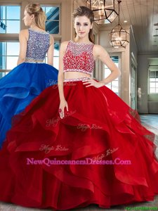 Colorful Spring and Summer and Fall and Winter Tulle Sleeveless Floor Length Quinceanera Gown andBeading and Ruffles