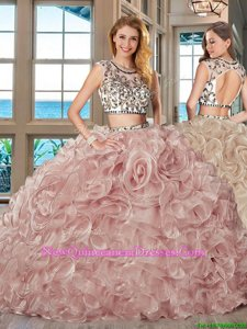 Luxury Scoop Pink Organza Backless Quinceanera Gown Cap Sleeves With Brush Train Beading and Ruffles
