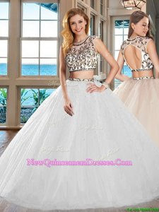 Artistic White Scoop Backless Beading Quinceanera Dresses Cap Sleeves