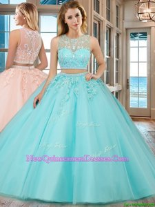 Scoop Aqua Blue Tulle Zipper Vestidos de Quinceanera Sleeveless Floor Length Beading and Appliques
