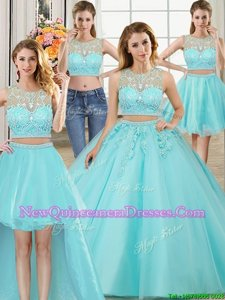Dramatic Four Piece Scoop Sleeveless Quinceanera Dress Floor Length Beading and Appliques Aqua Blue Tulle