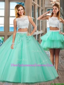 Traditional Floor Length Apple Green Quinceanera Dress Tulle Sleeveless Spring and Summer and Fall and Winter Beading and Appliques