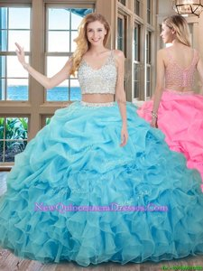 Wonderful Baby Blue V-neck Zipper Beading and Ruffles and Pick Ups Vestidos de Quinceanera Sleeveless