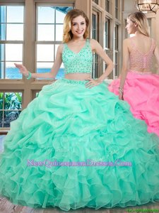 Sumptuous Apple Green Zipper V-neck Beading and Ruffles and Pick Ups Quinceanera Gowns Organza Sleeveless
