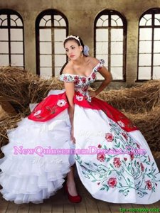 Fine White and Red Quinceanera Dress Military Ball and Sweet 16 and Quinceanera and For withEmbroidery and Ruffled Layers Off The Shoulder Cap Sleeves Lace Up