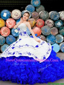 Custom Designed White and Blue Organza and Taffeta Lace Up Sweet 16 Quinceanera Dress Sleeveless With Brush Train Embroidery and Ruffles