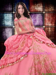 Wonderful Off the Shoulder Watermelon Red Taffeta Lace Up 15 Quinceanera Dress Sleeveless Floor Length Beading and Embroidery and Ruffled Layers