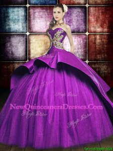 Attractive Purple Sleeveless With Train Appliques Lace Up Quinceanera Gown