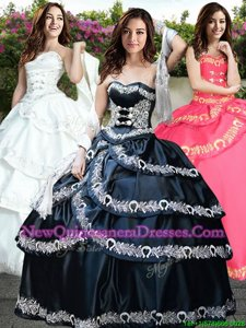 Super Navy Blue Taffeta Lace Up Sweet 16 Quinceanera Dress Sleeveless Floor Length Embroidery and Ruffled Layers