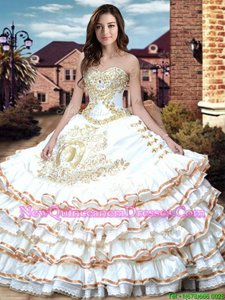 Admirable Embroidery and Ruffled Layers and Bowknot Sweet 16 Dresses White Lace Up Sleeveless Floor Length