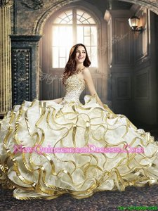 Fashionable White and Gold Ball Gowns Beading and Ruffles and Sequins Sweet 16 Quinceanera Dress Lace Up Organza Sleeveless