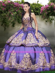 Clearance Beading and Embroidery Quinceanera Dresses Lavender Lace Up Sleeveless Floor Length