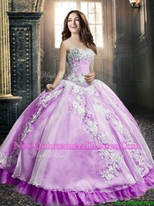 Lilac Ball Gowns Appliques Vestidos de Quinceanera Lace Up Tulle Sleeveless Floor Length