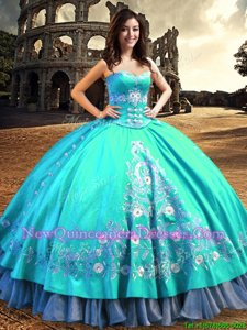 Custom Fit Embroidery Sweetheart Sleeveless Lace Up Quince Ball Gowns Aqua Blue Taffeta