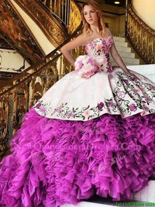 Dynamic Floor Length Lace Up Sweet 16 Quinceanera Dress Pink And White and In for Military Ball and Sweet 16 and Quinceanera withAppliques and Embroidery