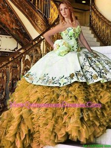 Glamorous Yellow And White Organza Lace Up Sweetheart Sleeveless Floor Length Quinceanera Dress Appliques and Embroidery