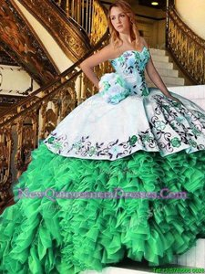 Dramatic Spring Green Organza Lace Up Quinceanera Dress Sleeveless Floor Length Appliques and Embroidery and Ruffles