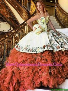 Graceful Rust Red Organza Lace Up 15th Birthday Dress Sleeveless Floor Length Appliques and Embroidery and Ruffles