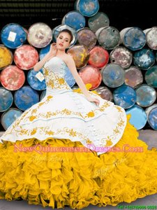 Elegant Organza Sweetheart Sleeveless Lace Up Appliques and Embroidery and Ruffles Quinceanera Dress inYellow And White