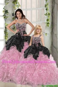 Artistic Sweetheart Sleeveless Quinceanera Gown Floor Length Beading and Ruffles Pink And Black Organza