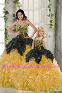 Excellent Black and Yellow Sweetheart Lace Up Beading and Ruffles Quinceanera Gown Sleeveless