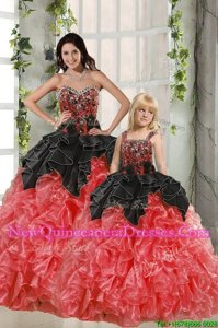 Delicate Beading and Ruffles Ball Gown Prom Dress Red And Black Lace Up Sleeveless Floor Length