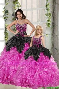 Cheap Sweetheart Sleeveless Quinceanera Dresses Floor Length Beading and Ruffles Pink And Black Organza