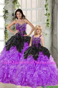 Edgy Black And Purple Organza Lace Up Sweetheart Sleeveless Floor Length Vestidos de Quinceanera Beading and Ruffles