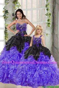 Chic Organza Sweetheart Sleeveless Lace Up Beading and Ruffles Ball Gown Prom Dress inBlack And Purple