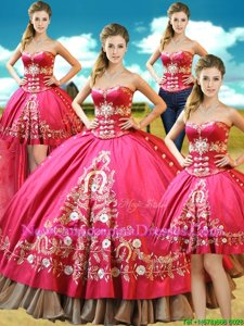 Chic Four Piece Hot Pink Ball Gowns Taffeta Sweetheart Sleeveless Beading and Embroidery Floor Length Lace Up Sweet 16 Dresses