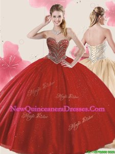 Pretty Beading and Sequins Quinceanera Dress Red Lace Up Sleeveless Floor Length