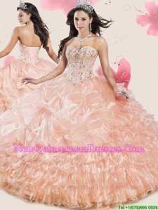 Fabulous Pick Ups Ruffled Peach Sleeveless Organza Lace Up Quinceanera Gown for Military Ball and Sweet 16 and Quinceanera