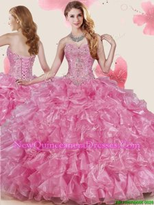Great Floor Length Ball Gowns Sleeveless Rose Pink Sweet 16 Dresses Lace Up