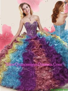 Fashion Sleeveless Beading and Ruffles Lace Up Sweet 16 Dresses