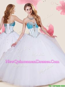 Extravagant White Lace Up Sweet 16 Dresses Beading and Ruffles Sleeveless Floor Length