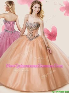 Romantic Peach Sleeveless Floor Length Beading and Sashes|ribbons Lace Up 15th Birthday Dress