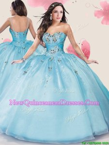 Colorful Sweetheart Sleeveless Lace Up 15th Birthday Dress Baby Blue Organza