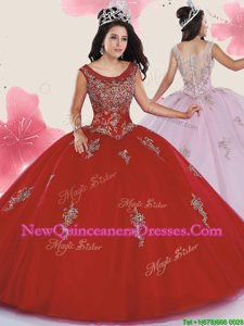 On Sale Scoop Sleeveless Zipper Quinceanera Dress Red Tulle