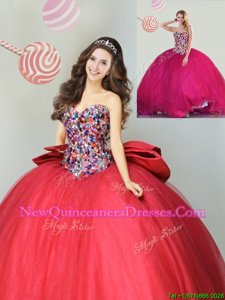 Sophisticated Sweetheart Sleeveless Tulle Ball Gown Prom Dress Beading and Bowknot Lace Up