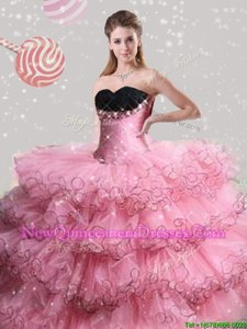 Vintage Sleeveless Lace Up Floor Length Beading and Ruffled Layers Sweet 16 Dress
